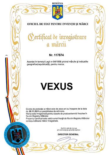 VEXUS certificat marca inregistrata - formatie nunta Cluj