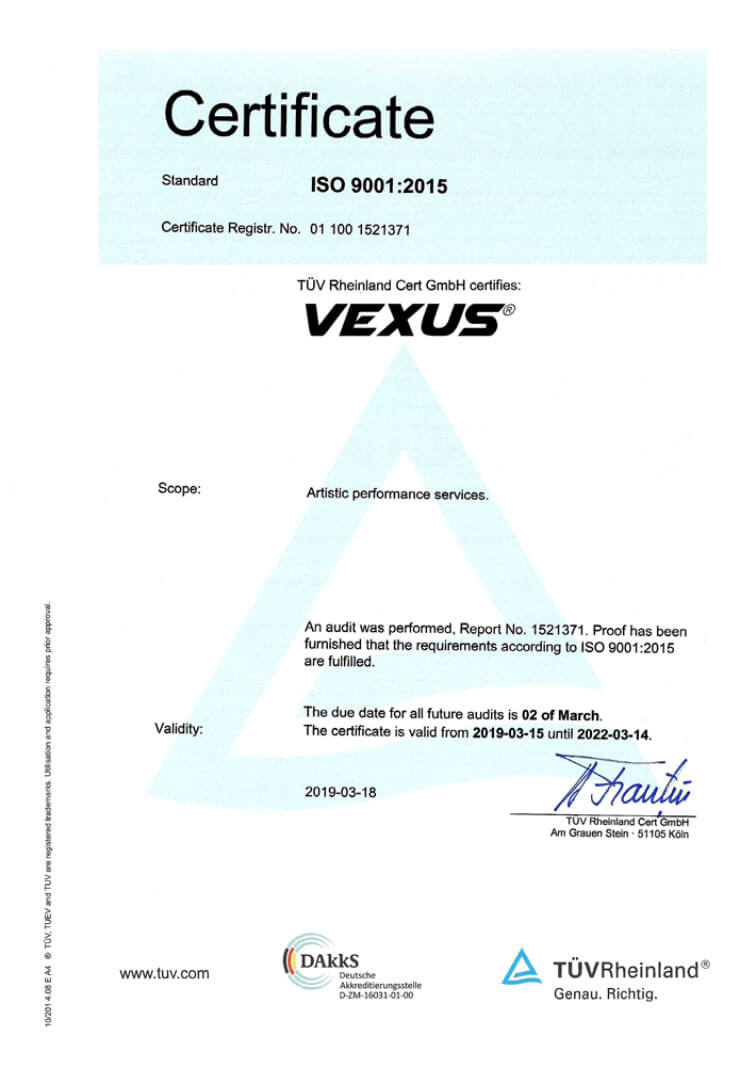 Certificat TUV Rheinland VEXUS